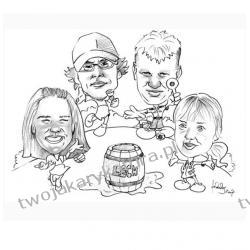 Karykatura czarno-biała, 4 osoby