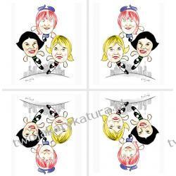 Karykatura kolorowa, 3 osoby