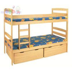 Klupś łóżko piętrowe z drewna sosnowego z szufladami Klupś...