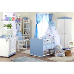 Śliczny zestaw mebli dziecięcych dla małego księcia Klupś - łóżeczko 140x70 szafa i komoda...