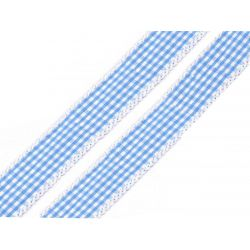 WSTĄŻKA - BŁĘKIT W KRATKĘ - SZER. 20 mm - DŁ. 1 m