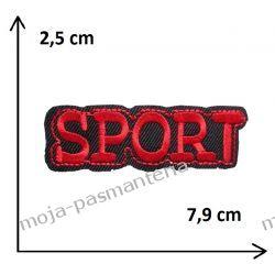 Naprasowanka -NAPIS SPORT (czerwony) - 25x79mm