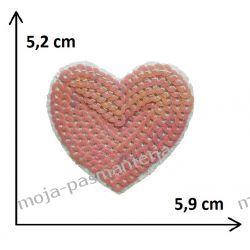 Naprasowanka - SERCE z cekinami 5,2cm x5,9 cm