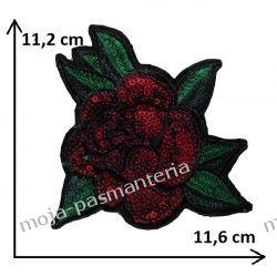 APLIKACJA NAPRASOWANKA -DUŻA -RÓŻA-CEKIN 11,2 x11,6 cm