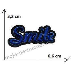 APLIKACJA NAPRASOWANKA TERMO - NAPIS SMILE- 3,2x6,6cm
