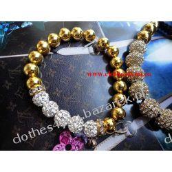 Bransoletka złoto + srebrne kule z kryształkami