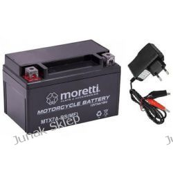 Akumulator żelowy AGM Moretti 12V/7Ah MTX7A-BS+ładowarka cyfrowa.