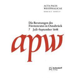 Bücher: Acta Pacis Westphalicae / Die Beratungen des Fürstenrates in Osnabrück  von Maria-Elisabeth Brunert