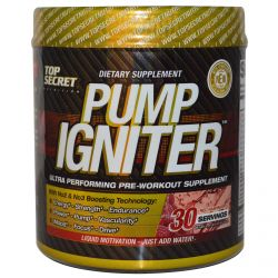 Top Secret Nutrition, LLC, Pump Igniter, Ultra Performing Pre-Workout Supplement, Red Raspberry, 7.93 oz (225 g)