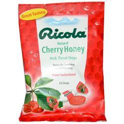 Ricola, Natural Cherry Honey, Herb Throat Drops, 24 Drops