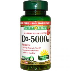 Nature's Bounty, D3, Maximum Strength, 5000 IU, 150 Softgels
