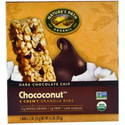 Nature's Path, Chococonut, Chewy Granola Bars, Dark Chocolate Chip, 5 Bars, 1.2 oz (35 g) Each
