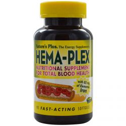 Nature's Plus, Hema-Plex, Nutritional Supplement for Total Blood Health, 90 Fast-Acting Softgels