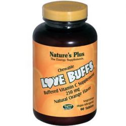 Nature's Plus, Love Buffs, Chewable Buffered Vitamin C, Natural Orange Flavor, 250 mg,  90 Tablets