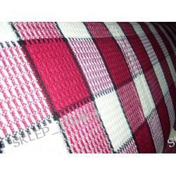 Komplet narzut na łóżko i fotele krata bordowy biały 170x205cm + 2szt 66x170cm