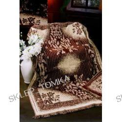 Komplet 3 narzut z motywem kwiatów, 170x205cm i 2 na fotele / 2 kolory - brąz ciemny lub jasny