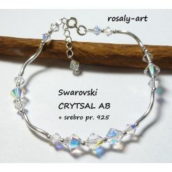 Brasnsoletka na Ślub CRYSTAL AB Swarovski + srebro pr. 925
