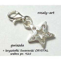 CHARMS GWIAZDA + kryształki SWAROVSKI SREBRO