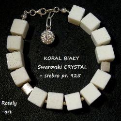 bransoletka KORAL BIAŁY  + Swarovski + srebro s326