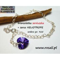 BRANSOLETKA + serce HELIOTROPE Swarovski baza charms ze srebra