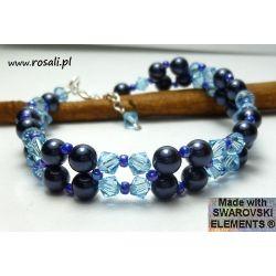 BRANSOLETKA Swarovski kryształy + perły s345 aqua