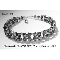 BRANSOLETKA Swarovski SILVER NIGHT + srebro