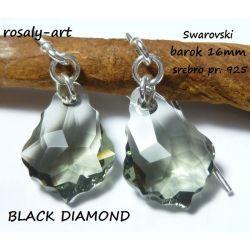 kolczyki BAROK 16 mm Swarovski BLACK DIAMOND srebro