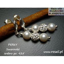 kolczyki PERŁY SWAROVSKI + kryształki CRYSTAL srebro na ślub