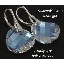 kolczyki TWIST Swarovski MOONLIGHT + srebro Biżuteria i Zegarki