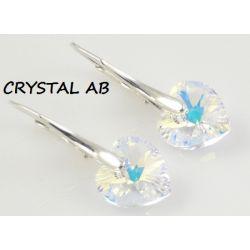 Kolczyki serce 10mm SWAROVSKI CRYSTAL AB + srebro