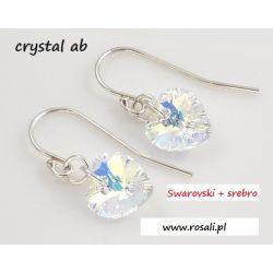 Kolczyki serce 10mm SWAROVSKI CRYSTAL AB + srebro O Biżuteria i Zegarki