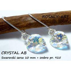 Kolczyki serce 10mm SWAROVSKI CRYSTAL AB + srebro Z Biżuteria i Zegarki
