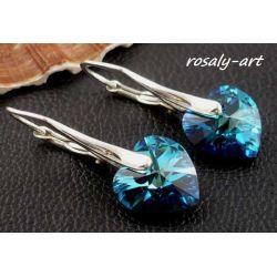 Kolczyki serce 10mm SWAROVSKI BERMUDA BLUE + srebro ANG Biżuteria i Zegarki
