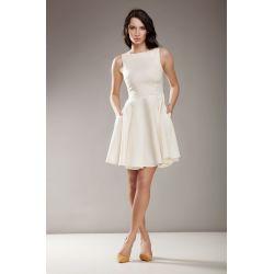 NIFE Rozkloszowana sukienka Audrey wesele S17 - ECRU