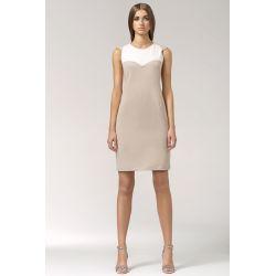 NIFE Dwukolorowa sukienka S34 beżowa
