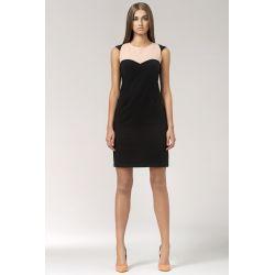 NIFE Dwukolorowa sukienka S34 czarna z różem
