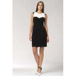 NIFE Dwukolorowa sukienka S34 czarna z białym