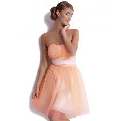 KARTES Szyfonowa, sukienka z gorsetem - łosoś