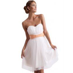 KARTES Szyfonowa, sukienka z gorsetem - biała