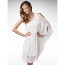 Zjawiskowa sukienka na jedno ramię - kremowa