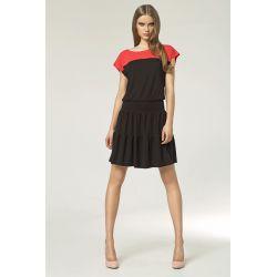 NIFE Letnia rozkloszowana sukienka S45 czarny/koral
