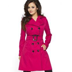KARTES Płaszcz z lamówką KM06 różowy