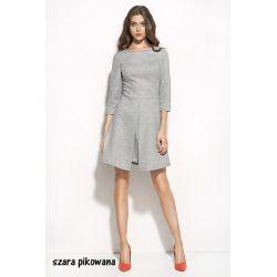 NIFE Sukienka z zakładkami S55 - szara