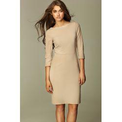 NIFE Sukienka z falowanym brzegiem S30- beż