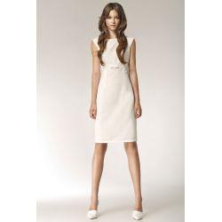 NIFE Sukienka podcinana pod biustem - ECRU