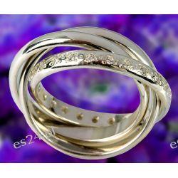 Potrójna obrączka srebrna z cyrkoniami oprawionymi wokół