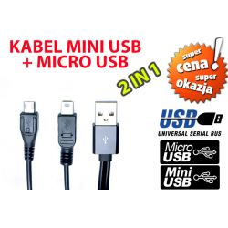 KABEL USB DO ŁADOWANIA MICRO USB + MINI USB