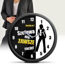 ZEGAR ŚCIENNY- dla szefowej , kierowniczki Zegary