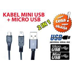 KABEL USB DO ŁADOWANIA MICRO USB + MINI USB