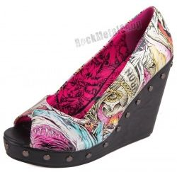 buty na koturnie IRON FIST - HERE I LIE WEDGE (BLUE) (IFL0696)